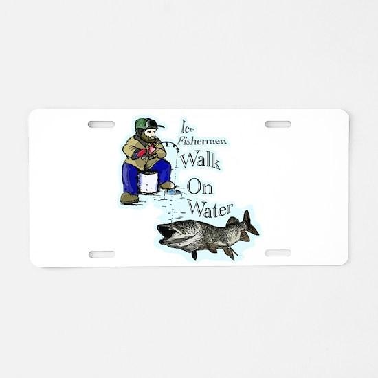 Ice fishing muskie Aluminum License Plate