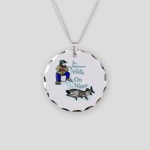 Ice fishing muskie Necklace Circle Charm