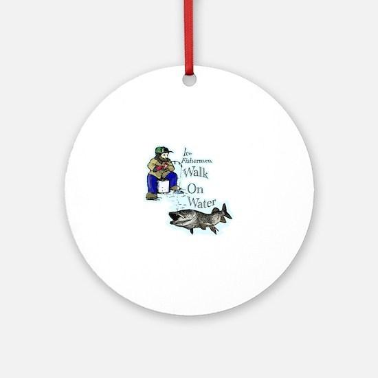 Ice fishing muskie Round Ornament