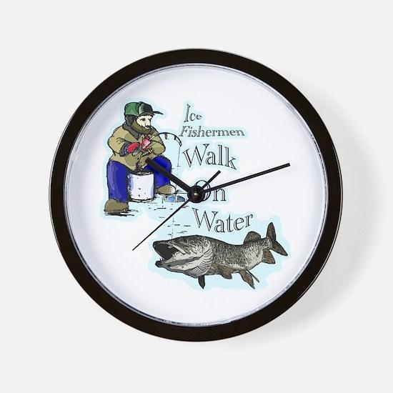 Ice fishing muskie Wall Clock