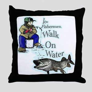 Ice fishing muskie Throw Pillow