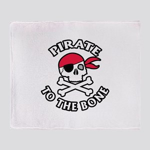 Pirate To The Bone Throw Blanket