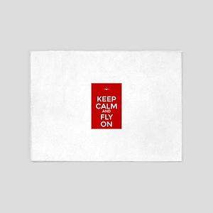 Keep Calm and Fly On 5'x7'Area Rug