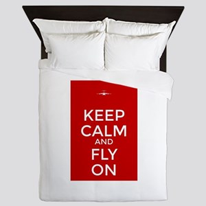 Keep Calm and Fly On Queen Duvet