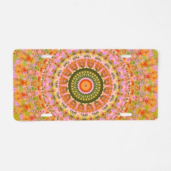 Happy Hippy Mandala Aluminum License Plate