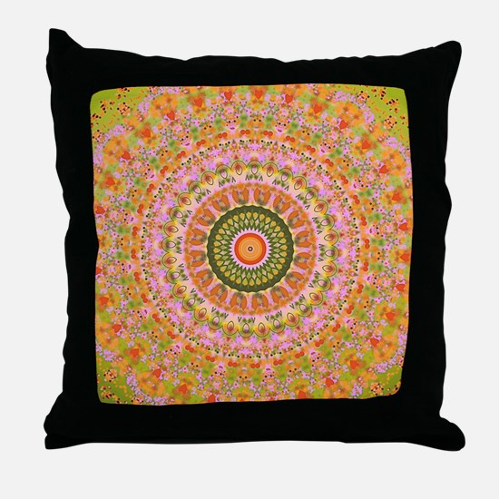 Happy Hippy Mandala Throw Pillow