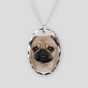Pug Necklace Oval Charm