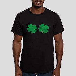 shamrock boobs Men's Fitted T-Shirt (dark)