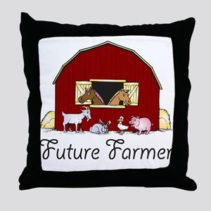 Future Farmer Barnyard Throw Pillow