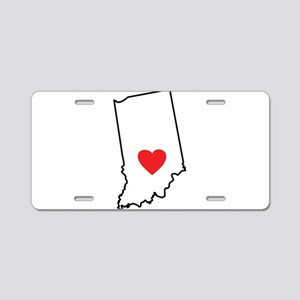 I Heart Indiana State Outline Aluminum License Pla