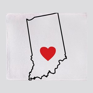 I Heart Indiana State Outline Throw Blanket