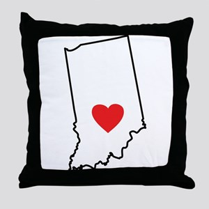 I Heart Indiana State Outline Throw Pillow