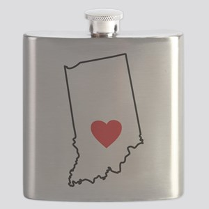 I Heart Indiana State Outline Flask