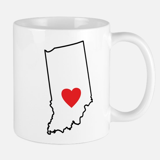 I Heart Indiana State Outline Mugs
