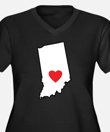 I Heart Indiana State Outline Plus Size T-Shirt