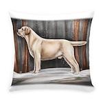 Yellow Labrador Retriever in Snow Everyday Pillow