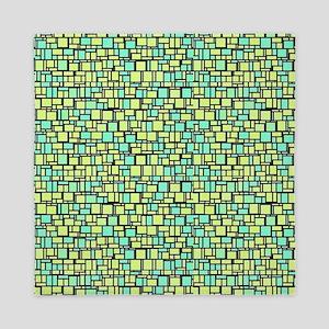 Green Mosaic Queen Duvet