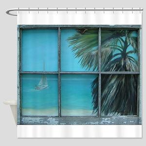 Beach Cottage View Shower Curtain