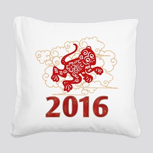 Paper Cut Year of The Monkey Square Canvas Pillow
