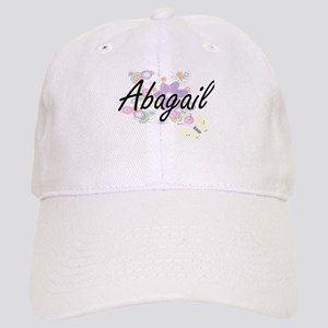 Abagail Artistic Name Design with Flowers Cap