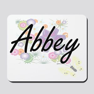 Abbey Artistic Name Design with Flowers Mousepad