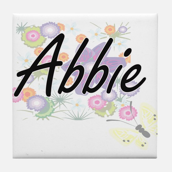Abbie Artistic Name Design with Flowe Tile Coaster