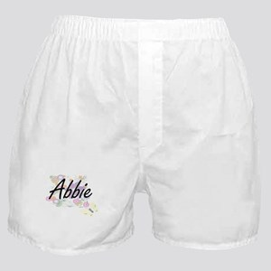 Abbie Artistic Name Design with Flowe Boxer Shorts