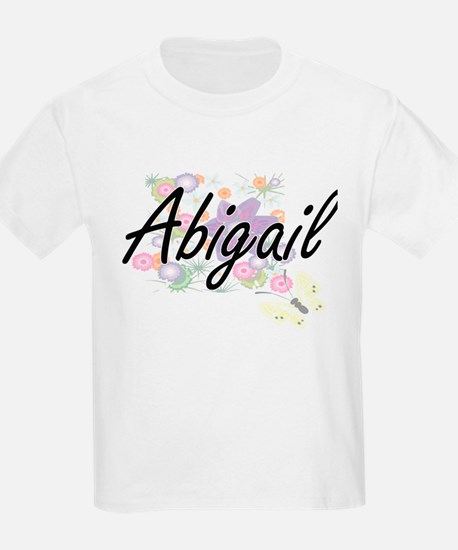 Abigail Artistic Name Design with Flowers T-Shirt