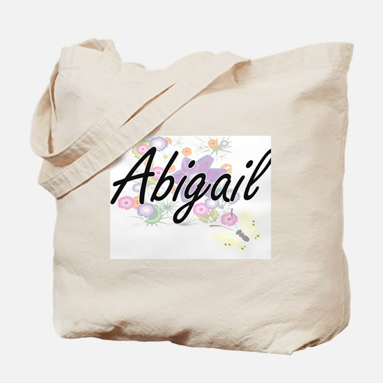 Abigail Artistic Name Design with Flowers Tote Bag