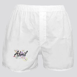 Abril Artistic Name Design with Flowe Boxer Shorts