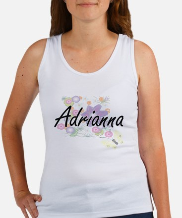 Adrianna Artistic Name Design with Flower Tank Top