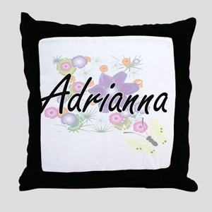 Adrianna Artistic Name Design with Fl Throw Pillow