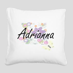 Adrianna Artistic Name Design Square Canvas Pillow