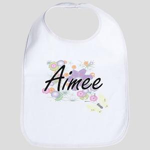 Aimee Artistic Name Design with Flowers Bib
