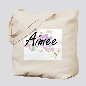 Aimee Artistic Name Design with Flowers Tote Bag