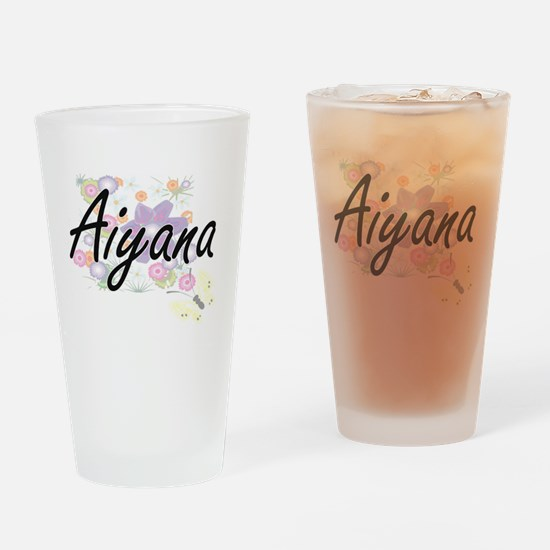Aiyana Artistic Name Design with Fl Drinking Glass