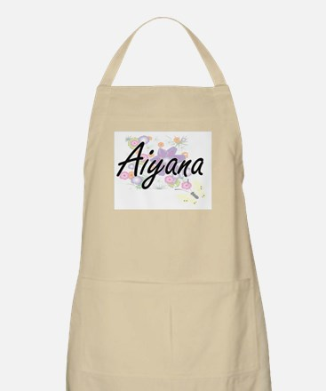 Aiyana Artistic Name Design with Flowers Apron