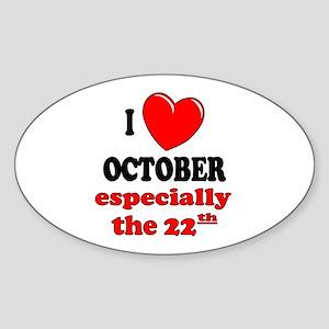 October 22nd Oval Sticker