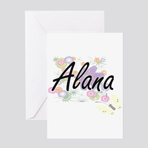 Alana Artistic Name Design with Flo Greeting Cards