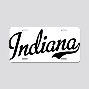Indiana Script Black Aluminum License Plate