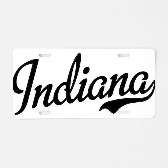 Indiana Script Black Aluminum License Plate