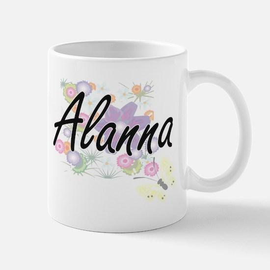 Alanna Artistic Name Design with Flowers Mugs
