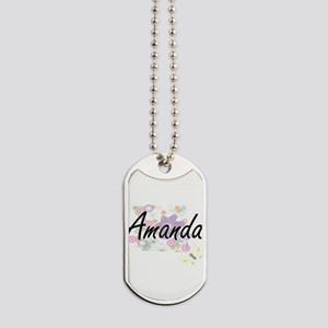 Amanda Artistic Name Design with Flowers Dog Tags