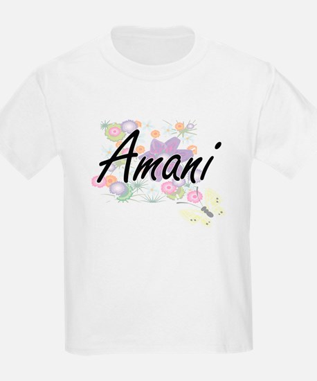 Amani Artistic Name Design with Flowers T-Shirt