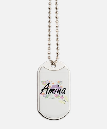 Amina Artistic Name Design with Flowers Dog Tags