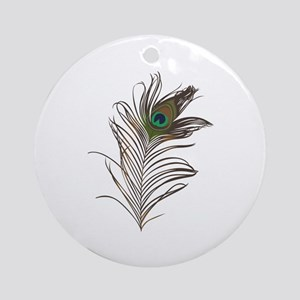 Peacock Feather Round Ornament
