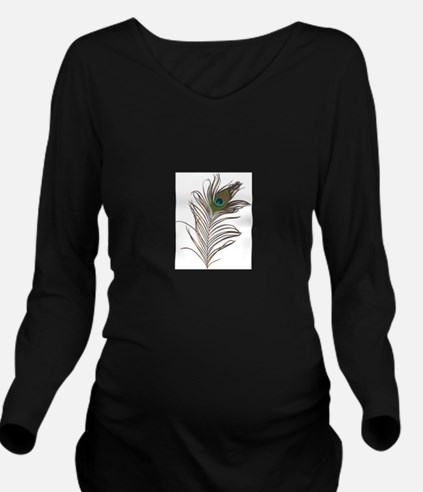 Peacock Feather Long Sleeve Maternity T-Shirt