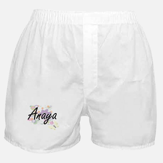 Anaya Artistic Name Design with Flowe Boxer Shorts
