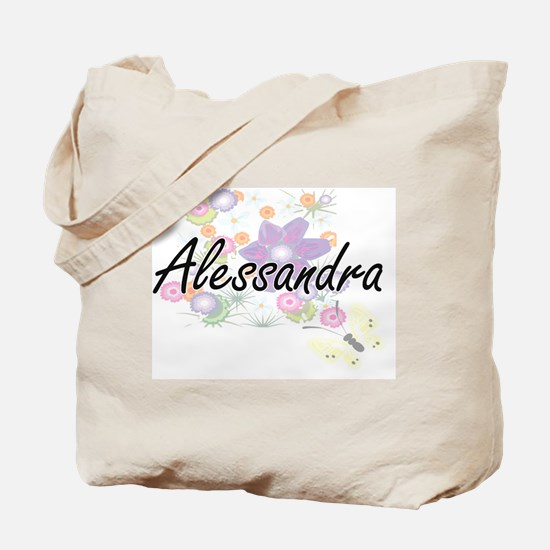 Alessandra Artistic Name Design with Flow Tote Bag