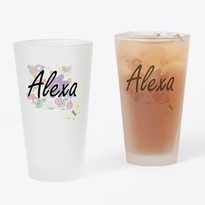 Alexa Artistic Name Design with Flo Drinking Glass